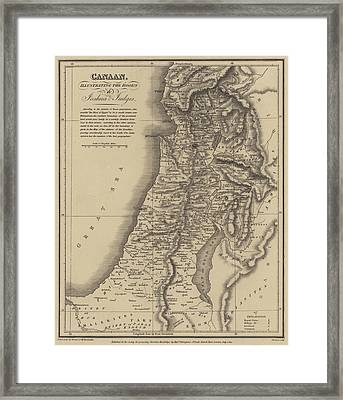 Antique Map Of Canaan Framed Print