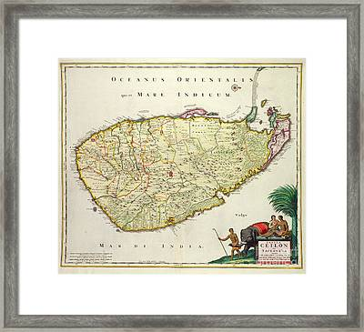 Antique Map Of Ceylon Framed Print by Nicolas Visscher