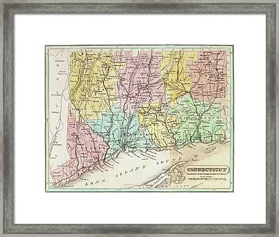 Antique Map Of Connecticut Framed Print by American School