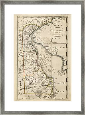 Antique Map Of Delaware By Mathew Carey - 1814 Framed Print