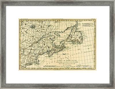 Antique Map Of Eastern Canada Framed Print by Guillaume Raynal