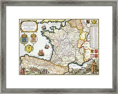 Antique Map Of France Framed Print