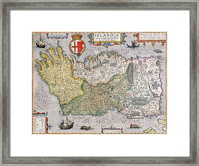 Antique Map Of Ireland Framed Print by  English School