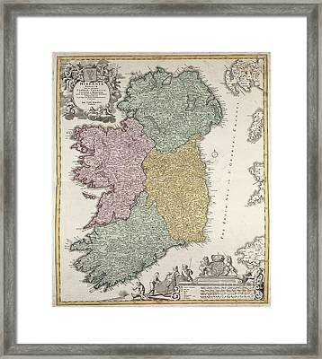 Antique Map Of Ireland Showing The Provinces Framed Print by Johann Baptist Homann