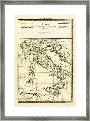 Antique Map Of Italy Framed Print by Guillaume Raynal