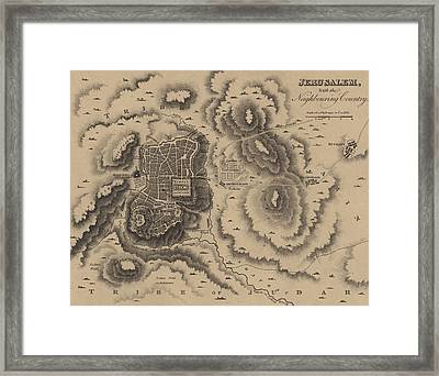 Antique Map Of Jerusalem Framed Print by English School