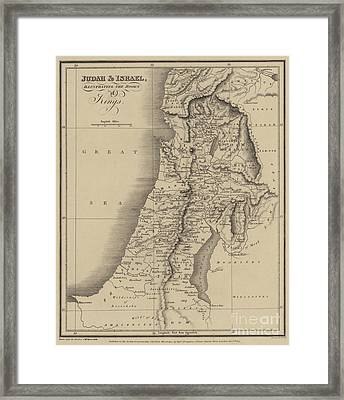Antique Map Of Judah And Israel Framed Print