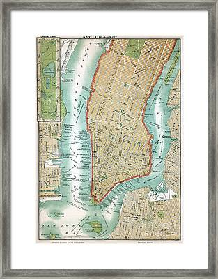 Antique Map Of Lower Manhattan And Central Park Framed Print