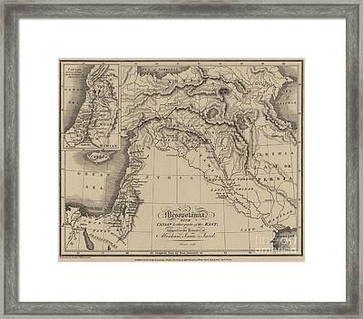 Antique Map Of Mesopotamia With Canaan And Other Parts Of The Middle East Framed Print by English School