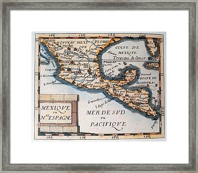 Antique Map Of Mexico Or New Spain Framed Print by French School