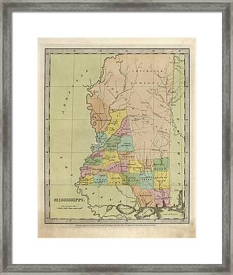 Antique Map Of Mississippi By David Burr - 1835 Framed Print by Blue Monocle