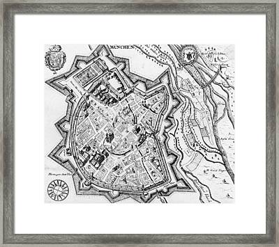 Antique Map Of Munich Framed Print by German School