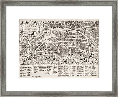 Antique Map Of Naples Framed Print