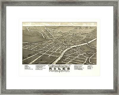 Antique Map Of Niles Ohio 1882 Framed Print by Mountain Dreams
