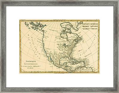Antique Map Of North America Framed Print by Guillaume Raynal