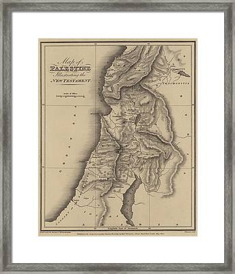 Antique Map Of Palestine Framed Print by English School