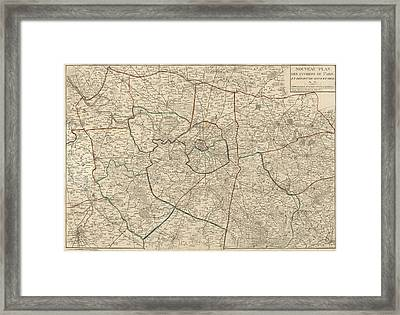 Antique Map Of Paris France And Surroundings By Jacques Esnauts - 1811 Framed Print