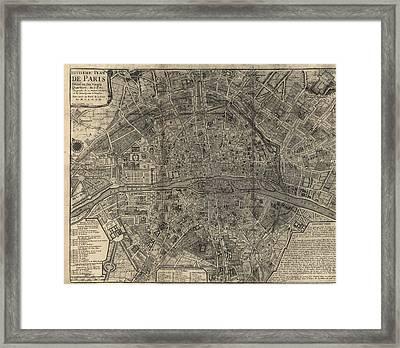 Framed Print featuring the drawing Antique Map Of Paris France By Nicolas De Fer - 1705 by Blue Monocle