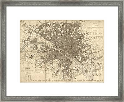 Antique Map Of Paris France By The Society For The Diffusion Of Useful Knowledge - 1834 Framed Print by Blue Monocle
