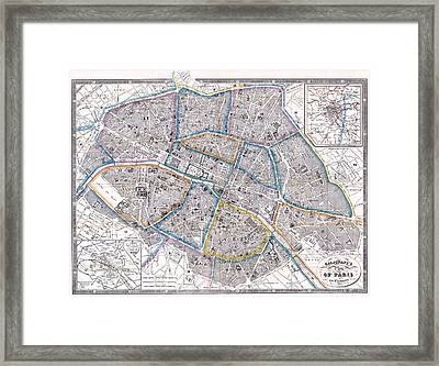 Antique Map Of Paris Framed Print by Giovanni Antonio Galignani