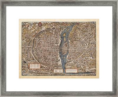 Antique Map Of Paris Framed Print