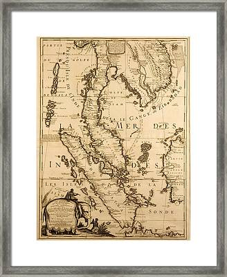 Antique Map Of South East Asia Framed Print by French School