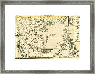 Antique Map Of South East Asia Framed Print by Guillaume Raynal