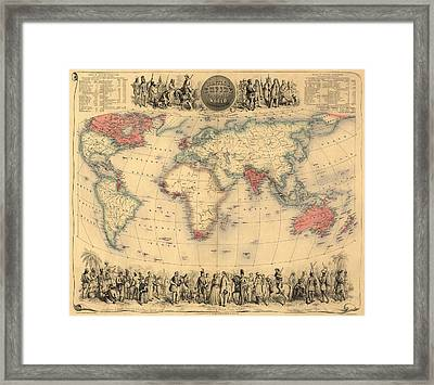 Antique Map Of The British Empire Circa 1870 Framed Print by English School