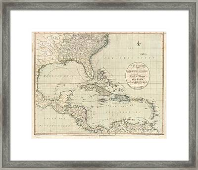 Antique Map Of The Caribbean And Central America By John Cary Framed Print