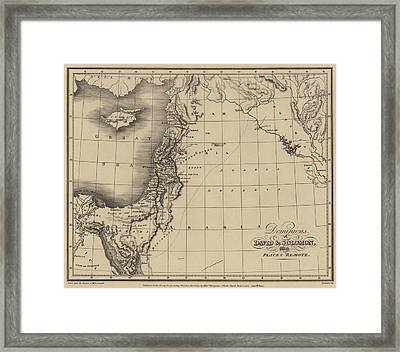 Antique Map Of The Kingdoms Of King David And King Solomon Framed Print by English School