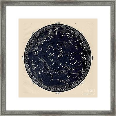 Antique Map Of The Night Sky, 19th Century Astronomy Framed Print by Tina Lavoie