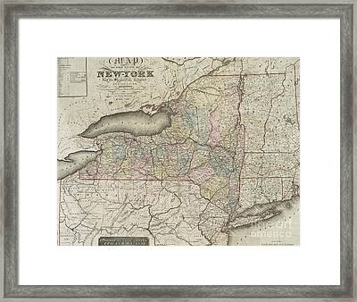 Antique Map Of The State Of New York And The Surrounding Country Framed Print