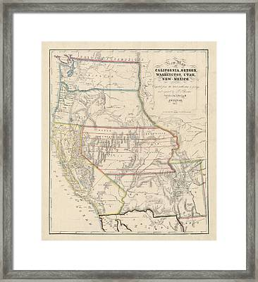 Framed Print featuring the drawing Antique Map Of The Western United States By John Disturnell - 1853 by Blue Monocle