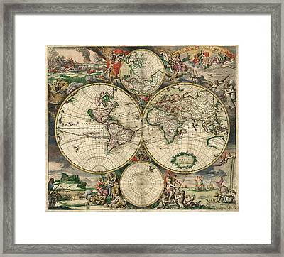 Antique Map Of The World - 1689 Framed Print