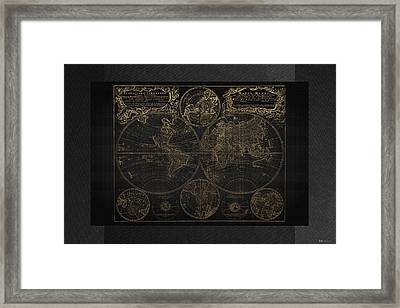 Antique Map Of The World - Gold On Black Canvas Framed Print