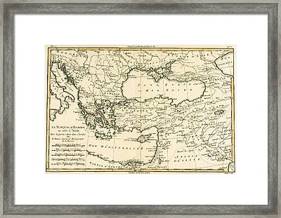 Antique Map Of Turkey Framed Print