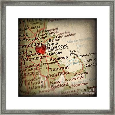 Antique Map With A Heart Over The City Of Boston In Massachusett Framed Print by ELITE IMAGE photography By Chad McDermott