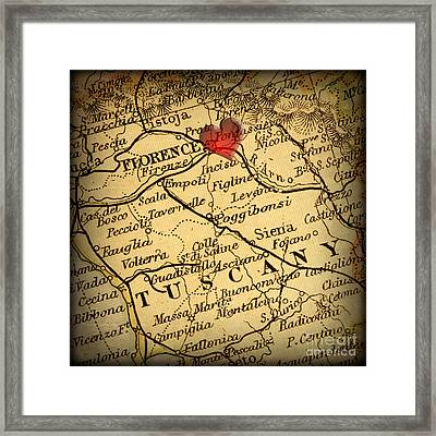 Antique Map With A Heart Over The City Of Florence In Italy Framed Print by ELITE IMAGE photography By Chad McDermott