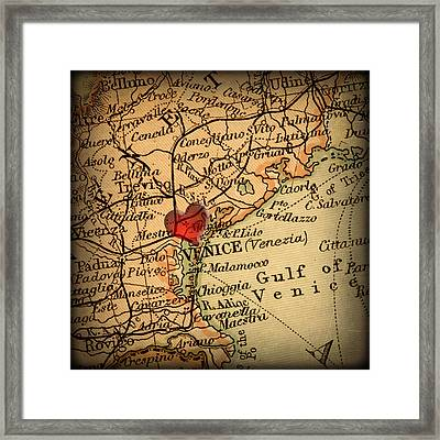 Antique Map With A Heart Over The City Of Venice In Italy Framed Print by ELITE IMAGE photography By Chad McDermott