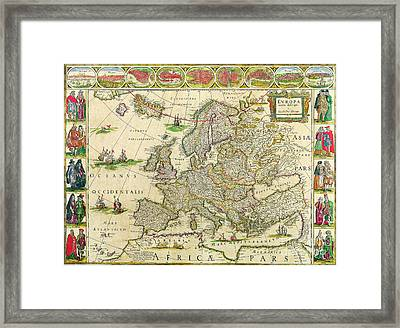 Antique Maps Of The World Map Of Europe Willem Blaeu C 1650 Framed Print
