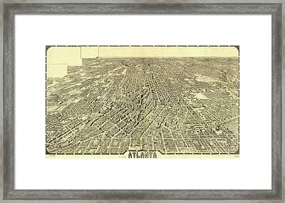 Antique Maps - Old Cartographic Maps - Antique Birds Eye View Map Of Atlanta Framed Print