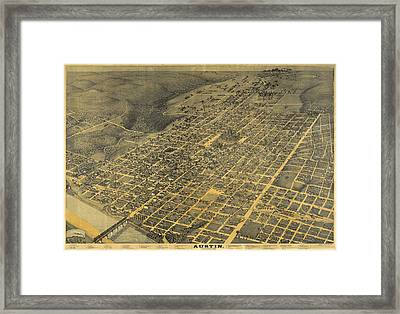 Antique Maps - Old Cartographic Maps - Antique Birds Eye View Map Of Austin, Texas, 1887 Framed Print