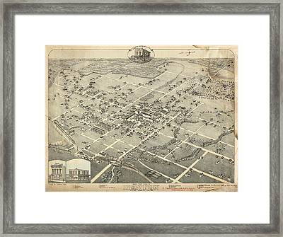 Antique Maps - Old Cartographic Maps - Antique Birds Eye View Map Of Denton, Texas, 1883 Framed Print
