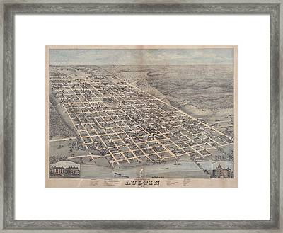 Antique Maps - Old Cartographic Maps - Antique Birds Eye View Map Of The City Of Austin, Texas, 1873 Framed Print
