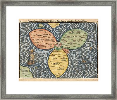 Antique Maps - Old Cartographic Maps - Antique Clover Leaf Map Of Europe, Asia And Africa Framed Print