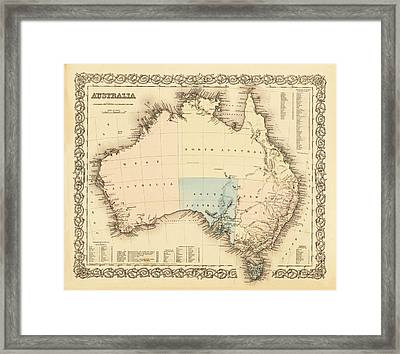 Antique Maps - Old Cartographic Maps - Antique Map Of Australia Framed Print