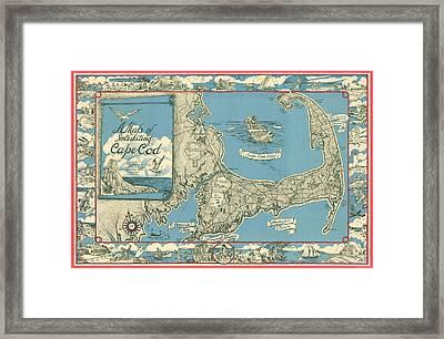 Cape Cod Map Framed Art Prints | Fine Art America