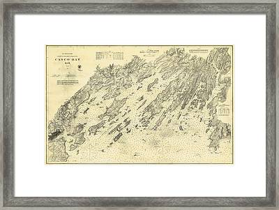 Antique Maps - Old Cartographic Maps - Antique Map Of Casco Bay, Maine, 1870 Framed Print