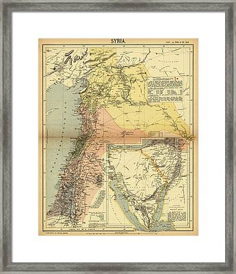 Antique Maps - Old Cartographic Maps - Antique Map Of Syria, 1884 Framed Print