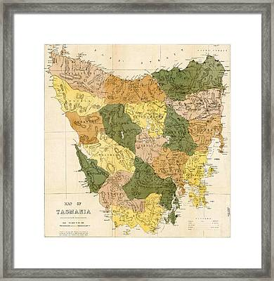Antique Maps - Old Cartographic Maps - Antique Map Of Tasmania, 1870 Framed Print